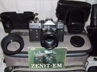 ZENIT EM CAMERA WITH LENSES AND ACCESSORIES