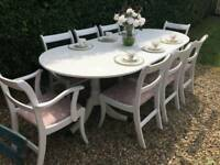 Stunning Shabby Chic Painted Extending Dining Table & 8 Chairs