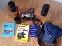 Canon EOS 500N 35mm camera with 2 Sigma Aspherical IF zoom lenses, carry case and manuals