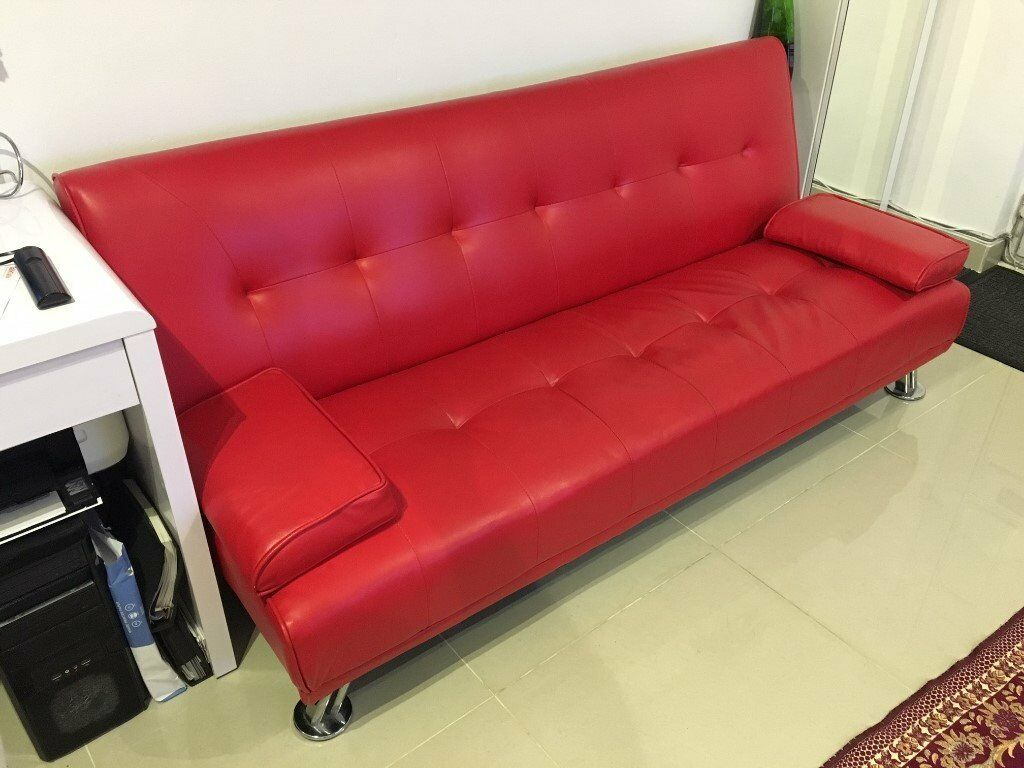 Fine 3 Seater Faux Leather Sofa Bed Couch In Red Decent Condition Spiritservingveterans Wood Chair Design Ideas Spiritservingveteransorg
