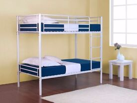 LIMITED OFFER - WHITE METAL BUNK BED FRAME ONLY £79 (BLACK,WHITE,SILVER) - MATTRESS OPTION AVAILABLE
