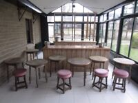 Large Distressed Pine Bar and Back Bar c/w 7 round tables and some bar equipment