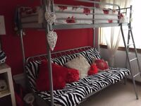 Metal high bed with sofa