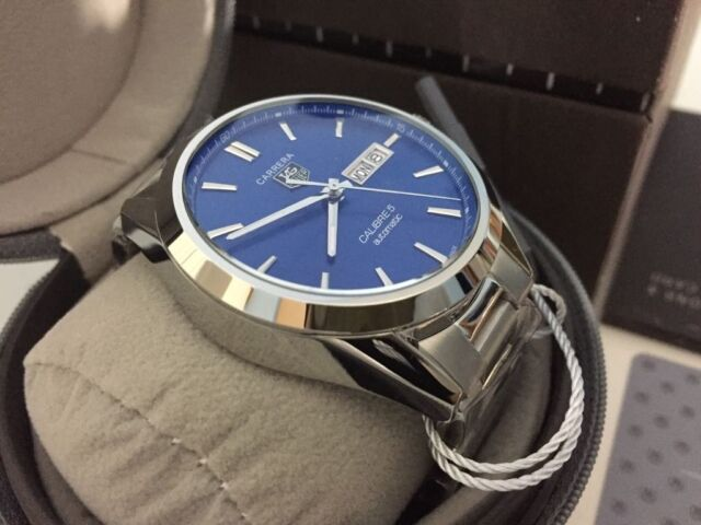 f5342d3e8ed New Swiss Tag Heuer Carrera Blue Dial Automatic Watch, See Through back