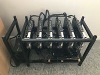 PROFESSIONAL BUILD 6 x GTX 1070 8GB RAM 1200W PSU MINING RIG 190MH/S