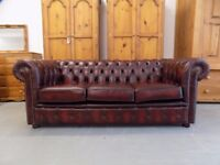Beautiful Ox Blood Red 3 Seater Chesterfield Sofa