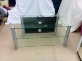 LUXURY LARGE TV STAND CHROME AND GLASS