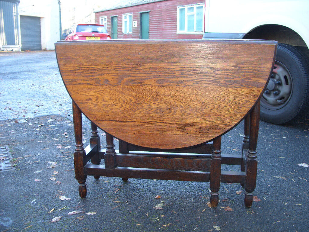 Antique dining kitchen side table 4-seater country solid oak table, drop leaf gate leg c.1930