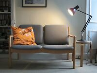 Beautiful Vintage Ercol 2-seat upholstered sofa bench Kvadrat fabric