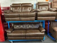 NEW - EX DISPLAY LEATHER SOFOLOGY SRENTO BROWN LEATHER 3 + 2 + 1 SEATER SOFA SOFAS 70% Off RRP