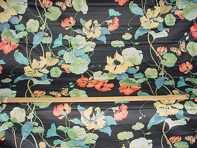 6y Striiking Jet Black Handprinted Floral Polished Cotton Upholstery Fabric