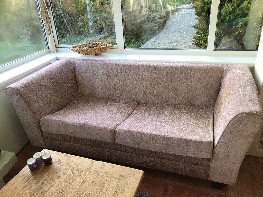 Two Brown With Pink Tinge Chenille Sofas One Small One
