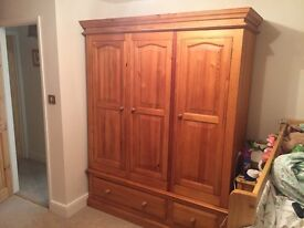 Solid Pine Triple Wardrobe With Base Draws