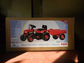 TRACTOR PEDAL OPERATED with TRAILER - Still new in box - £60