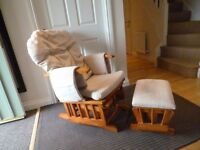 Nursery glider rocking chair with foot stool, very comfortable