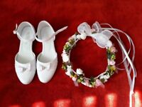First Communion hairdress and shoes