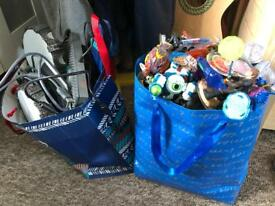 Bag full of skylanders and disney infinity figures and portals