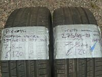 2x 275 45 21 Pirelli Scorpion 4x4 tyres Part worn