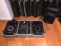 Pioneer CDJ 900 pair with DJM 700 mixer + Mackie SRM 350 PA monitor and flight case