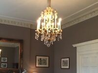 Antique brass and Chrystal Chandelier