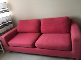 3 seater sofa couch red/salmon pink statement piece