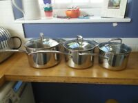 Set of 3 M&S copper based saucepans