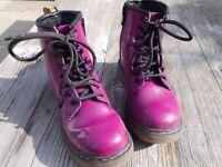 Dr Martens Delaney Patent Boots, Purple - size 10 (children's)