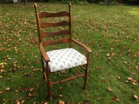 Vintage Solid Wood Reupholstered Ladder Back Occasional Chair
