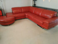 Milan right arm facing red 100% leather corner sofa & fooot stool