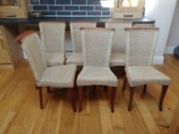 Large solid pine dining table and 6 chairs