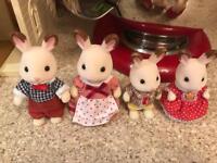 Sylvanian bunny rabbit family like new