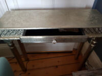 Silver, embossed, console table