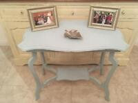 Shabby chic occasional table painted with Laura Ashley duck egg blue furniture paint