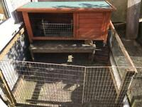 Rabbit or guinea pig hutch, accessories and run