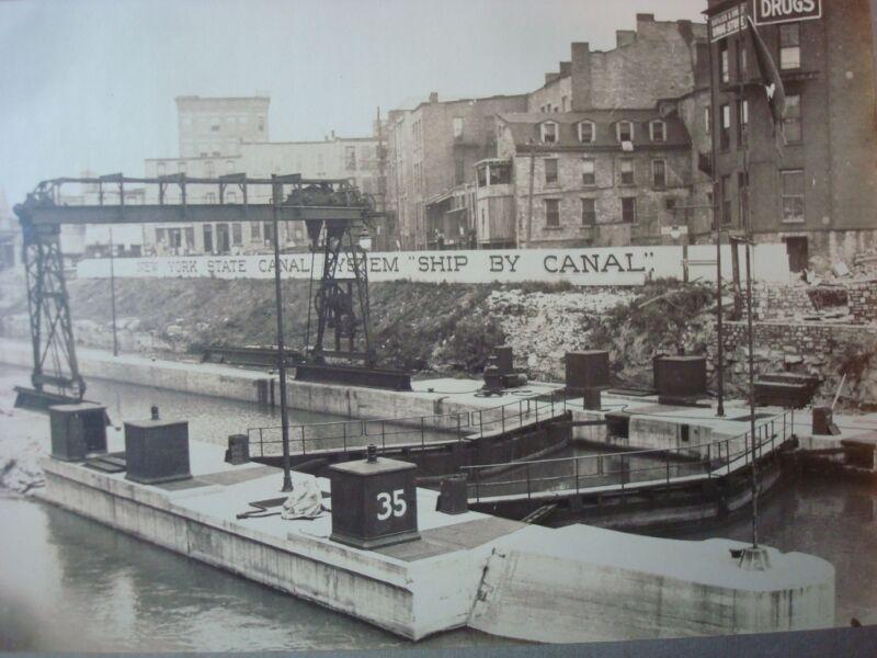1912 Lockport New York Barge Canal Lock 35 Guard Gate Gantry Crane REPRINT PHOTO