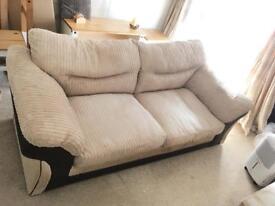 Cream sofa and footstall