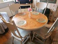 Shabby chic solid oak table and chairs