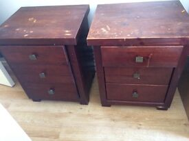 Mahogany Bedside units. Need stained. Perfect for chalk painting or decoupage