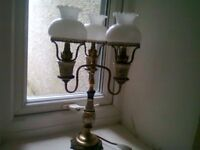 Brass three arm, antique lamp with three glass shades