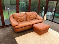 Tan Brown Leather Sofa + Footrest Good Condition