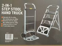 NEW IN BOX 2 IN 1 THREE STEP STOOL HAND TRUCK TROLLEY 200KG LEICESTER