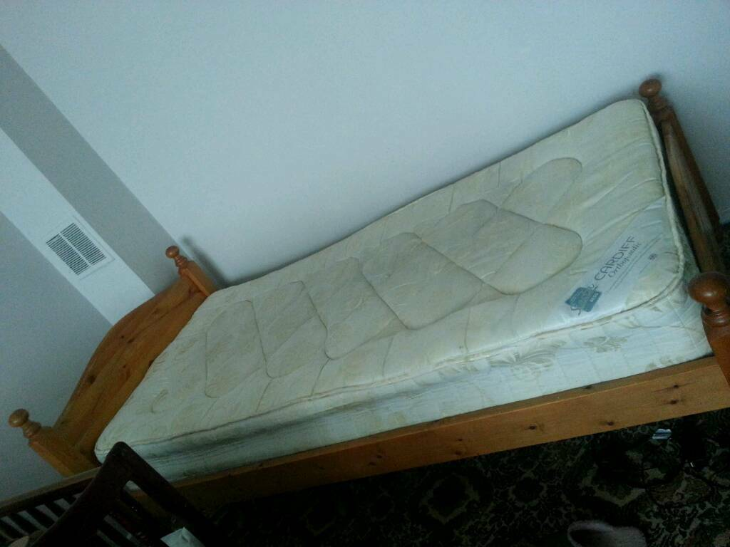 Single wooden bed and mattress £120
