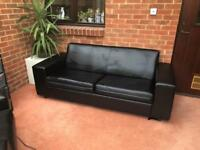 Faux Leather Sofa and Armchair