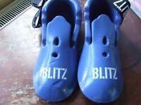 Kids Blitz Taekwondo protective gear in blue.