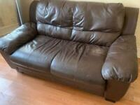 Free brown leather sofa/Central Brighton