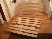 IKEA WOODEN DOUBLE FUTON BED BASE GRANKULLA - LOW BED BASE