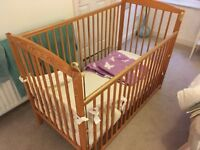 Solid Pine Drop-Side Cot (Delivery Available)