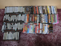 APPROX 120 VHS TAPES - MUSIC / FILMS / COMEDY ETC + BLANKS + HEAD CLEANER