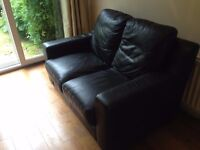 2 Seater Leather Sofa Black (Great Condition)