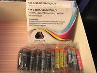 22 New Canon Compatible Ink Cartridges - 525BK/526BK/C/M/Y